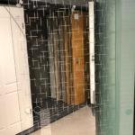 Erkelenz Glastür Modell Crossing Lines Weißglas