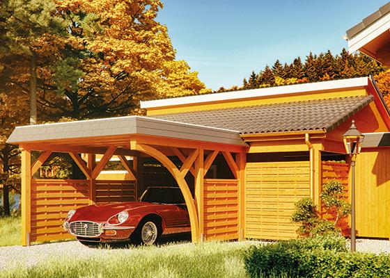 Joda Carport Sondermodell an Blockhaus