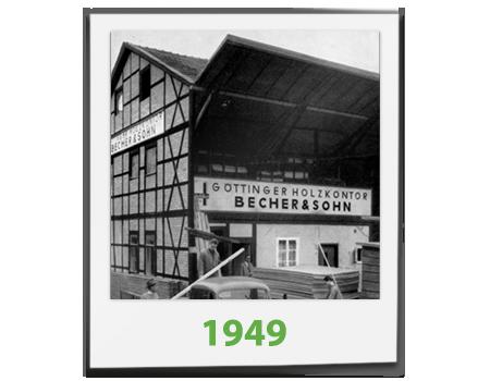 Ein Schwarz-Weiß Bild des Göttinger Holzkontors von Becher und Sohn